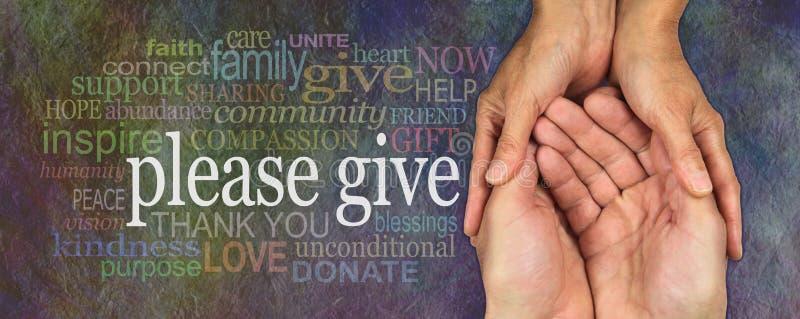 Please ger generously banret för välgörenhetordmolnet arkivbilder
