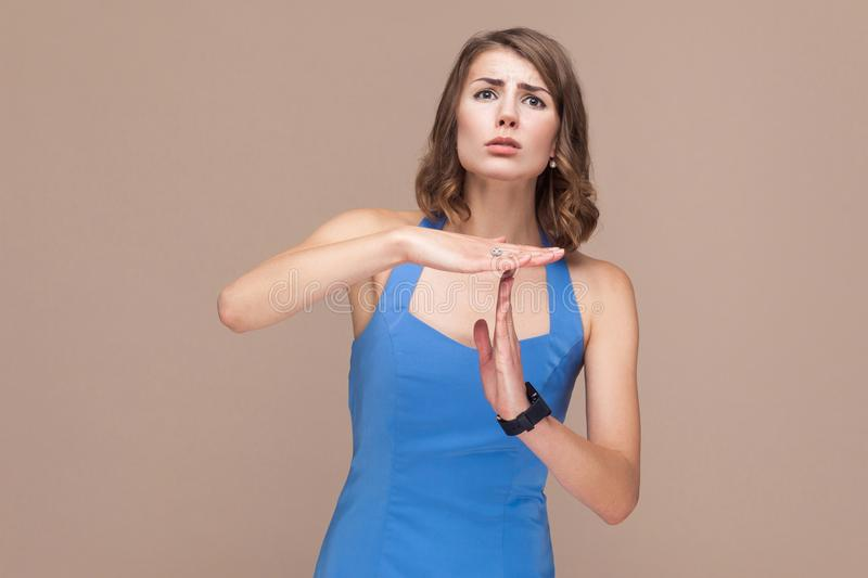 Please, i need pause! Woman need time out royalty free stock image