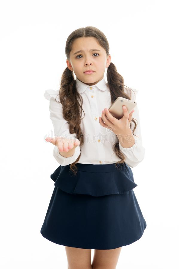 Please one more call. Schoolgirl ask permission to use mobile phone in school. Banned in school. Girl pupil school stock photos