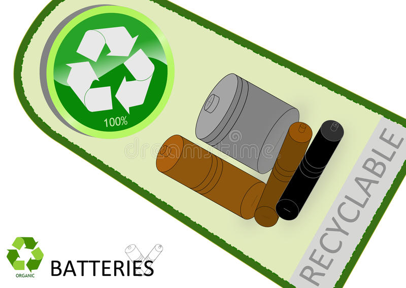 Download Please recycle batteries stock vector. Image of trash - 22282668