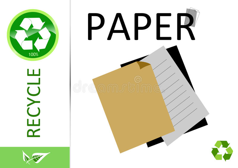 Please recycle paper. On white vector illustration