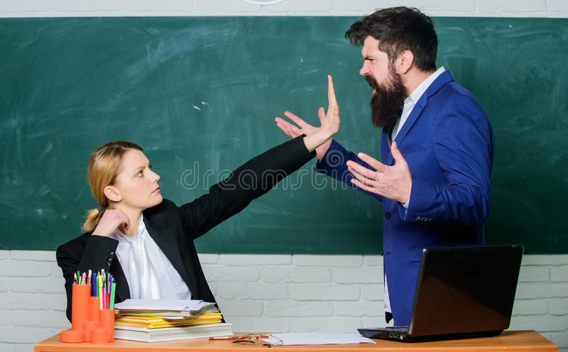 Please shut up. Tired of complaints. Indifferent about objection. Dismissed objection. School teacher and parent. Stop. Talking to me. Criticism and objection royalty free stock images