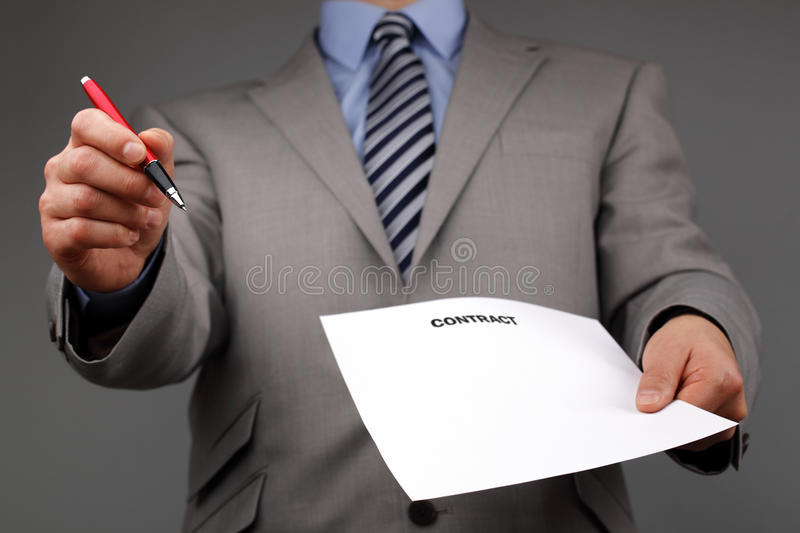 Please sign the contract stock photos