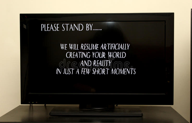 Please Stand By message on tv royalty free stock photography