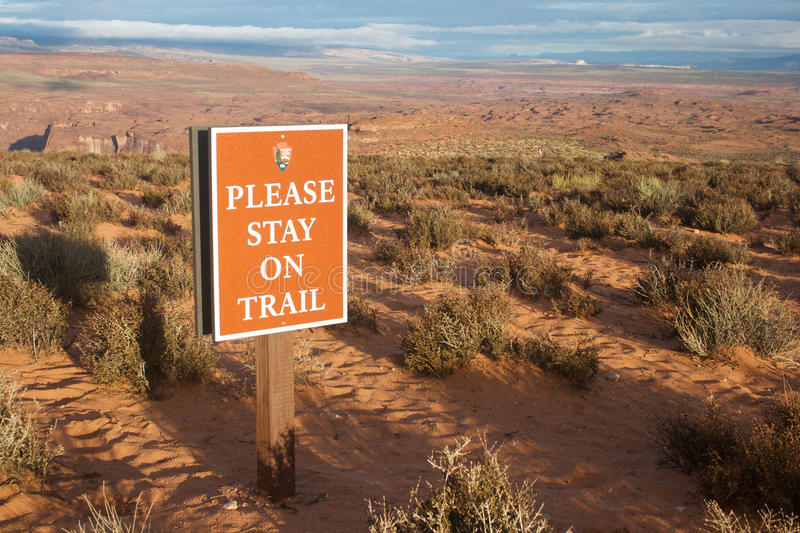 Please stay on trail stock photo