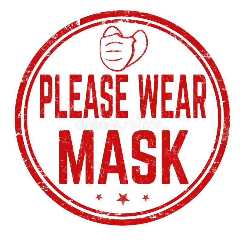 Please Wear Mask Sign Or Stamp Stock Vector - Illustration of wear, danger:  182004151