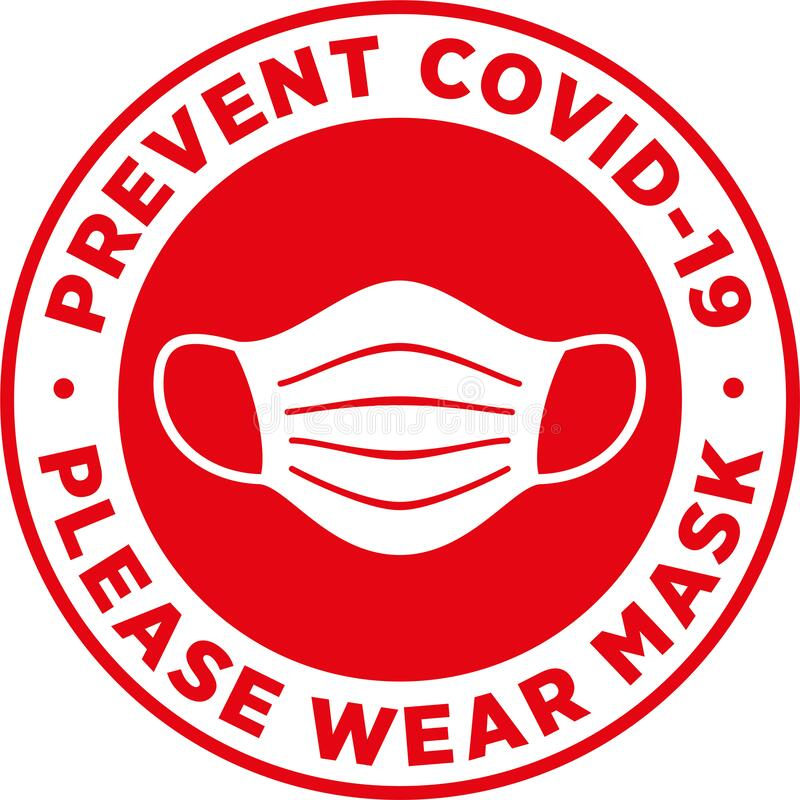 Free Please Wear Medical Mask Signage Or Floor Sticker. Royalty Free Stock Images - 181961559