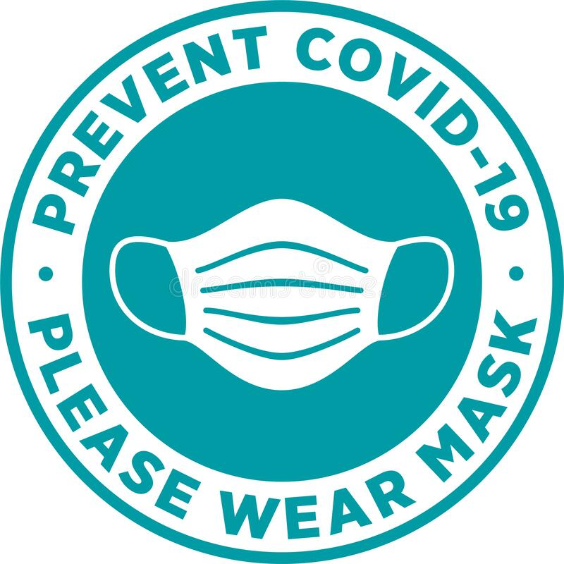 Free Please Wear Medical Mask Signage Or Sticker. Royalty Free Stock Photography - 181604227