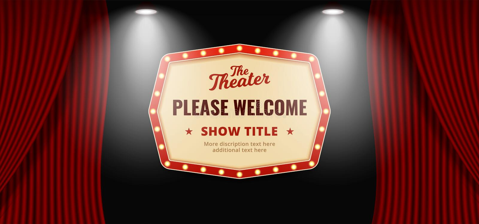 Please welcome retro classic sign board background design. Open red theater stage curtain backdrop with wooden floor base and. Double bright spotlight lamp stock illustration