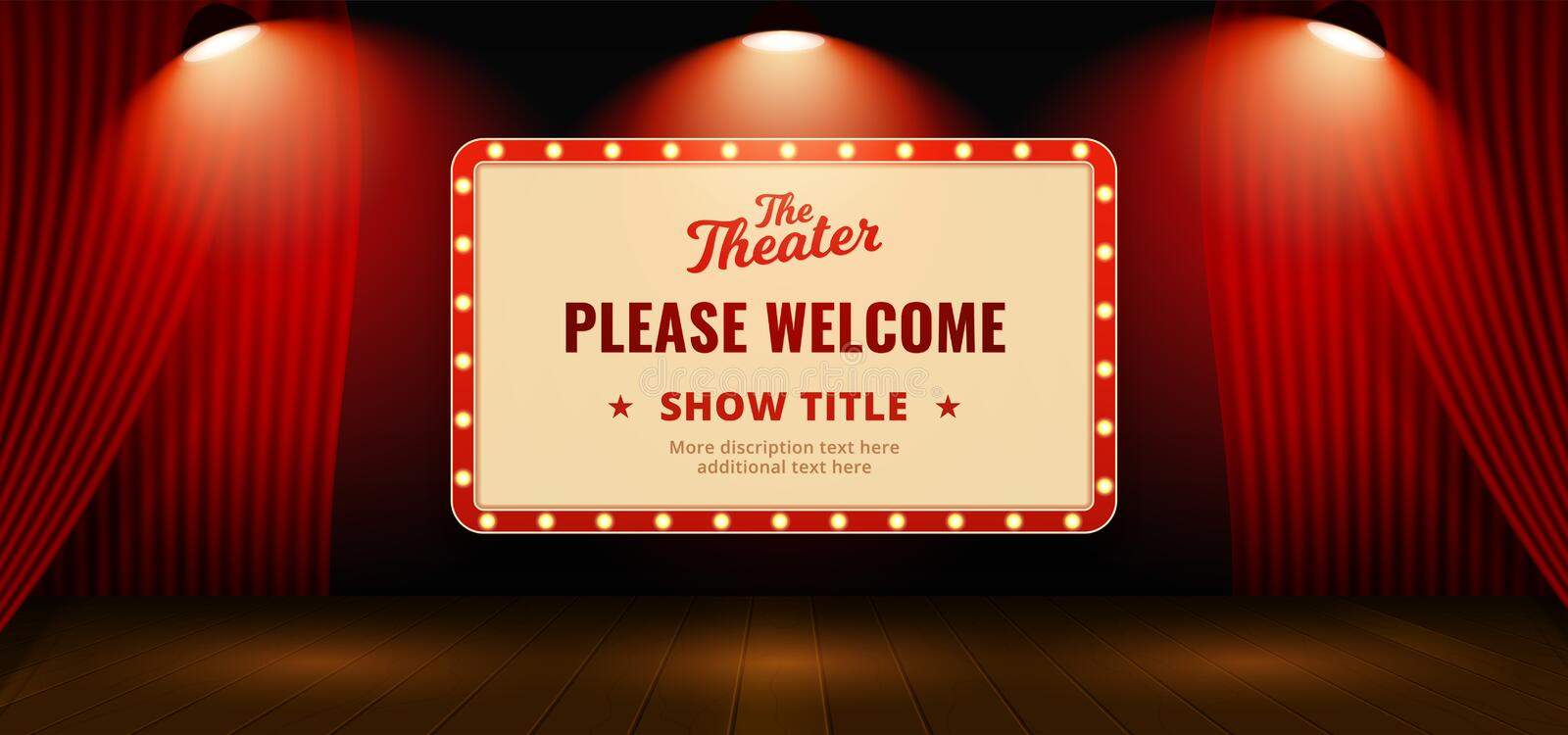 Please welcome retro classic sign board background design. Open red theater stage curtain backdrop with wooden floor base and full. Bright spotlight lamp vector royalty free illustration