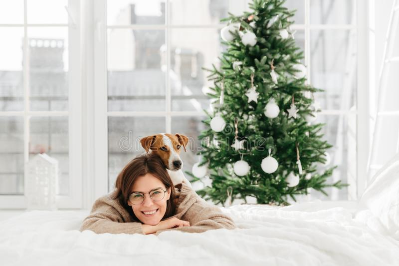 Pleased good looking young woman with dark hair wears round optical spectacles, smiles gently, lie on bed with domestic pet, have stock photo