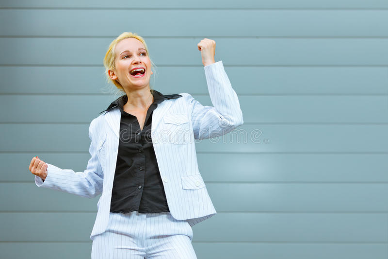 Download Pleased Modern Business Woman At Office Building Stock Photo - Image: 20147594