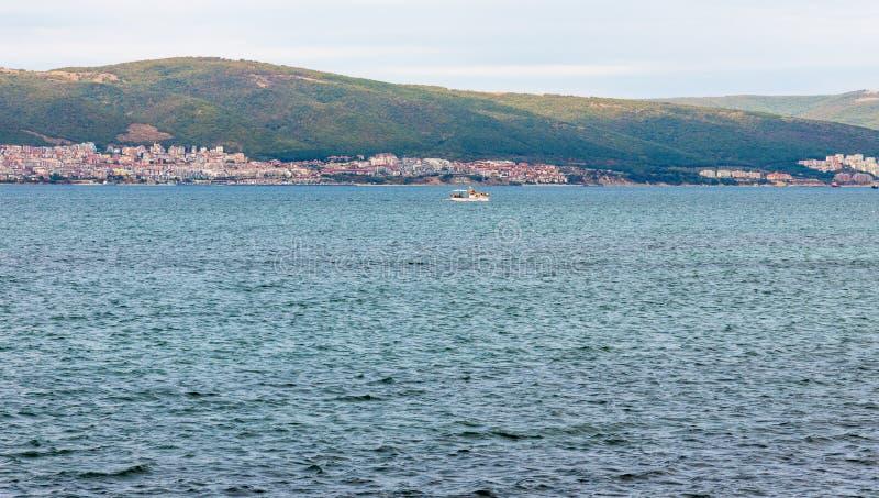 Pleasure boat in the bay of Svety Vlas, Bulgaria royalty free stock image