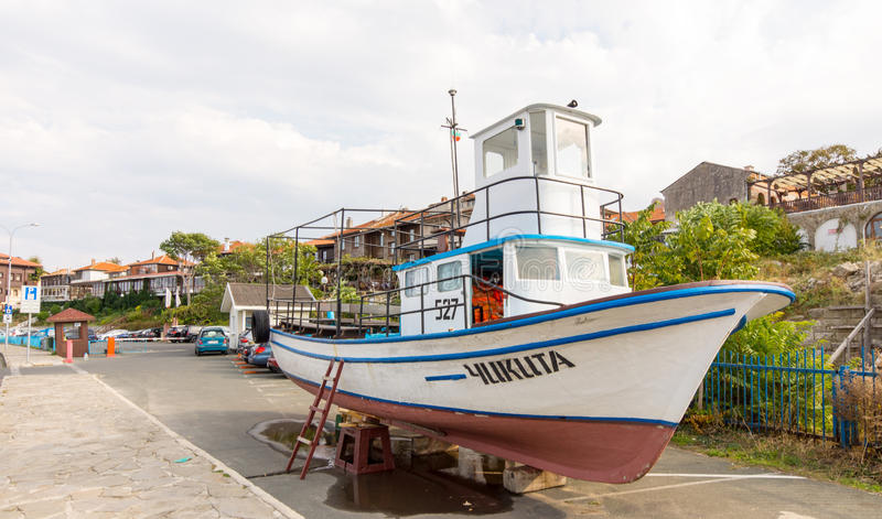 Pleasure boat on the beach in Nessebar, Bulgaria royalty free stock image