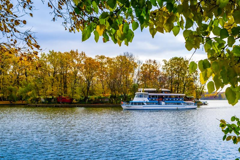 Pleasure Boat. Scenic view of a pleasure boat in Herastrau Park, Bucharest, Romania royalty free stock photos