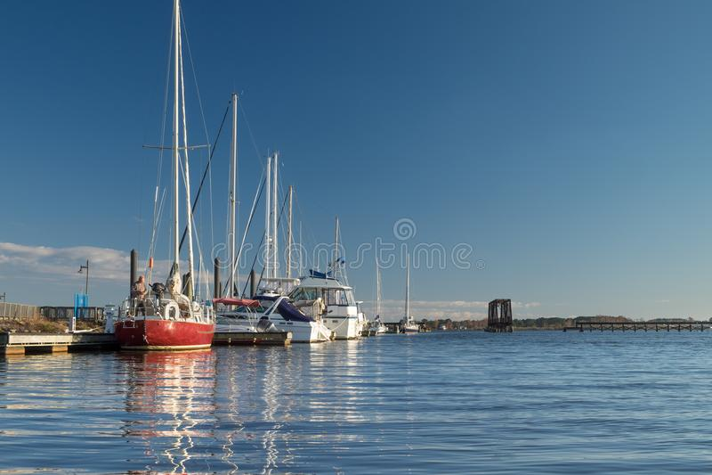 Yachts along the Waterfront, Washington, NC, USA stock images
