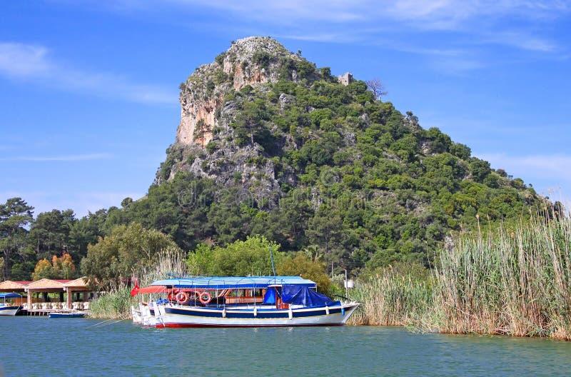 Pleasure boats on Dalyan river royalty free stock photos