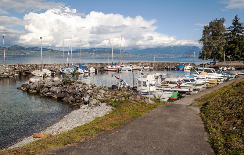 Pleasure boats by the lake leman royalty free stock photography