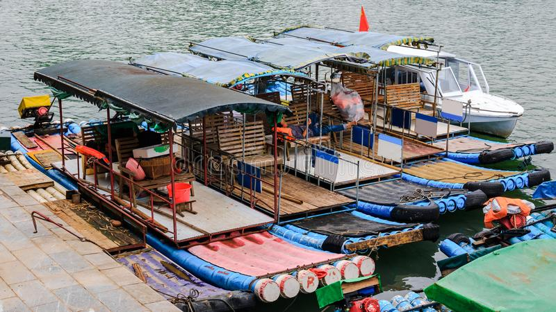 Pleasure boats on the Li River. Known as Lijiang River stock photo
