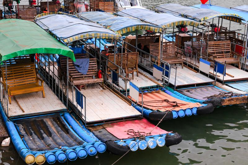 Pleasure boats on the Li River. Known as Lijiang River stock photography