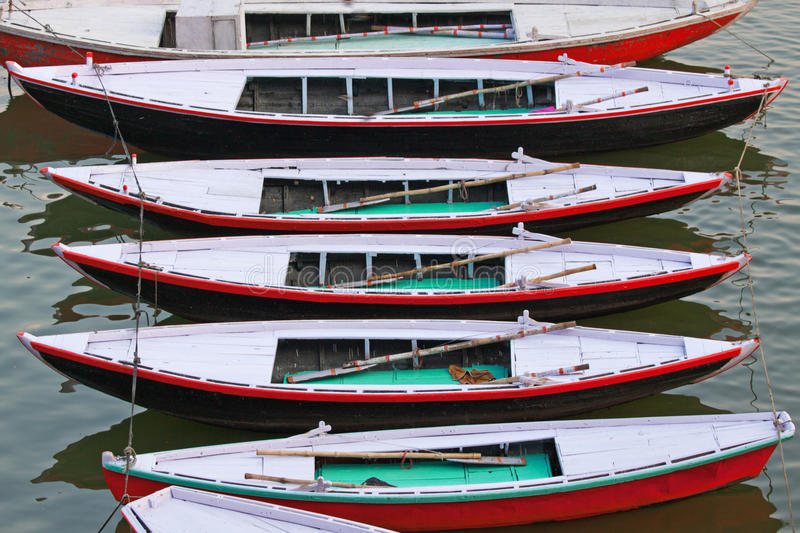 Pleasure Boats Moored on the River Ganges at Varanasi stock photo