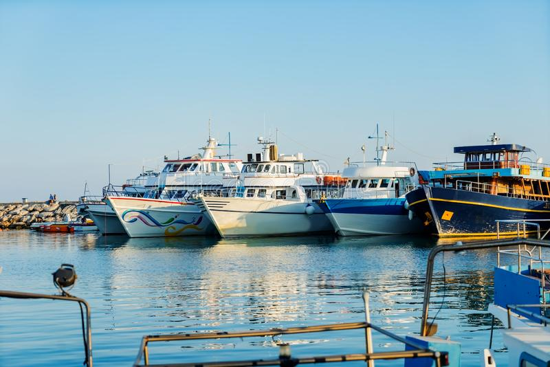 Pleasure boats in the port of Ayia NAPA. A Sunny day in the Mediterranean sea. stock photography