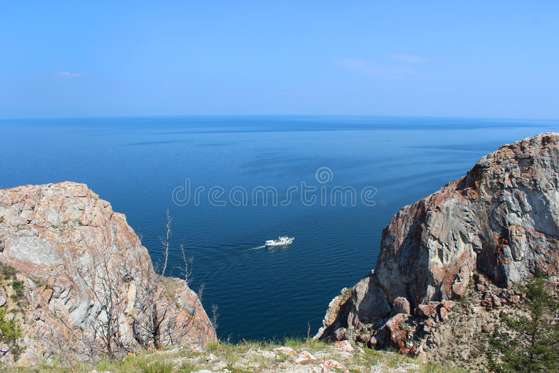 Pleasure craft in lake Baikal royalty free stock images