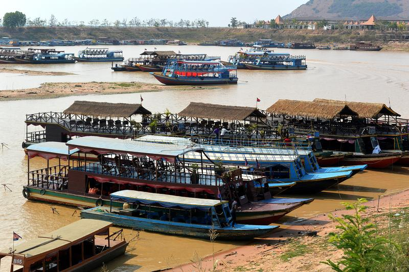 Pleasure motor boats take tourists. From Siem Reap to Tonle Sap Lake, Cambodia, Southeast Asia royalty free stock photos