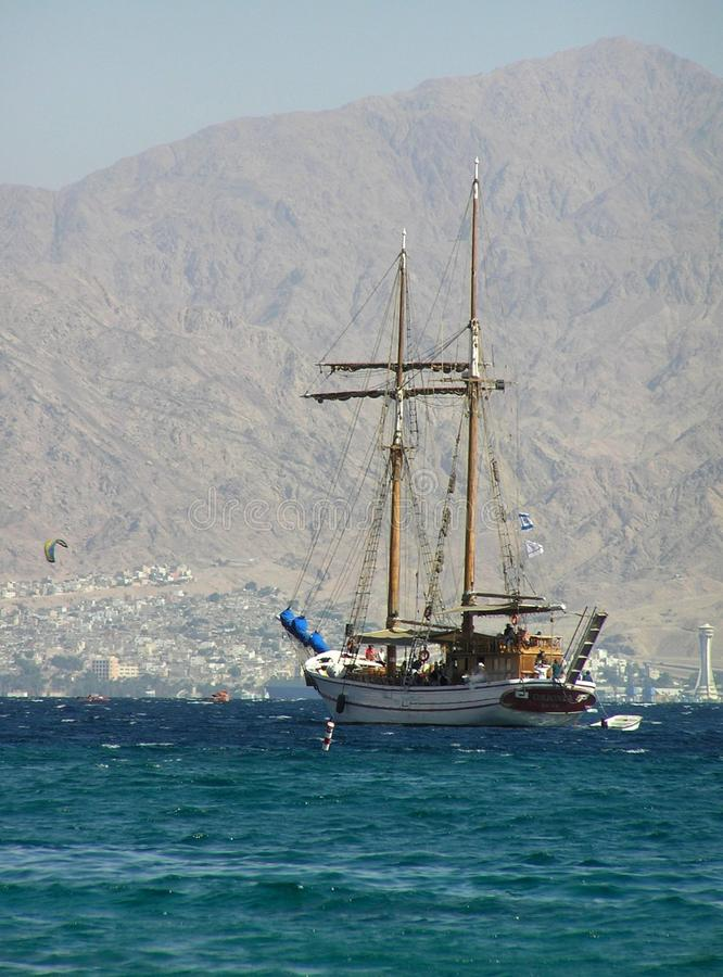 Sailing ship in the Gulf of Eilat, Israel royalty free stock photos