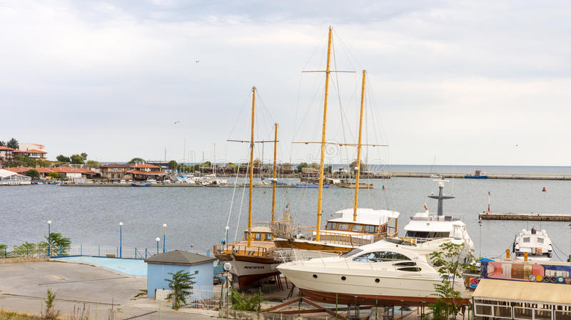 The pleasure yacht at the dock in Nessebar in Bulgaria royalty free stock photography