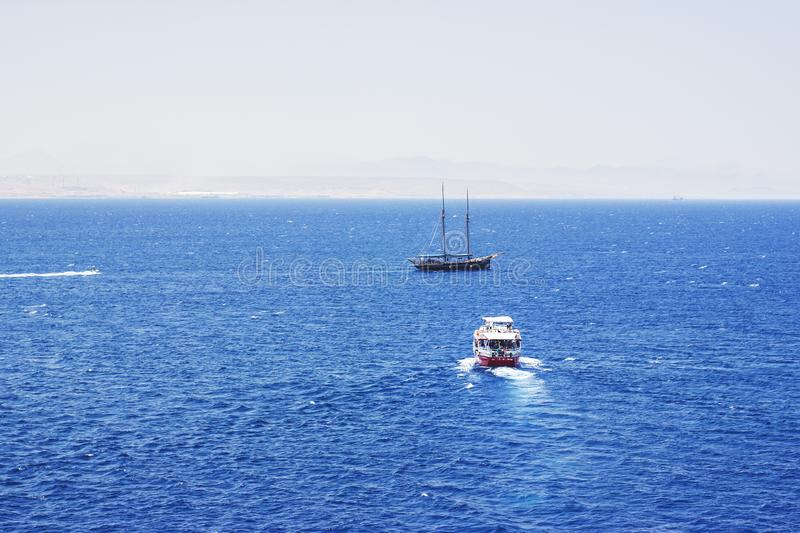 Pleasure yacht in the Red Sea against the mountains.  stock photo
