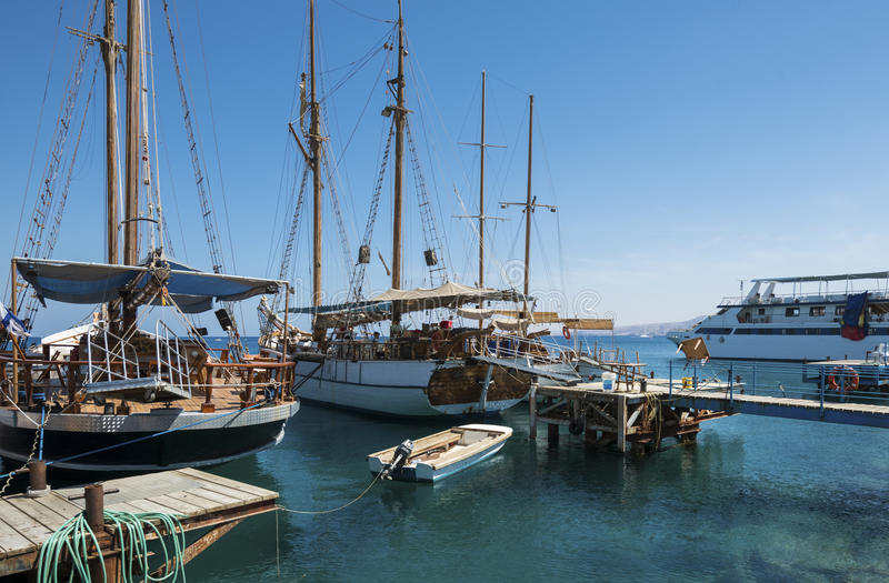 Pleasure yachts in marina of Eilat stock photo