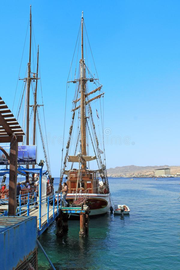 Pleasure yachts at the pier in Eilat, Israel royalty free stock images