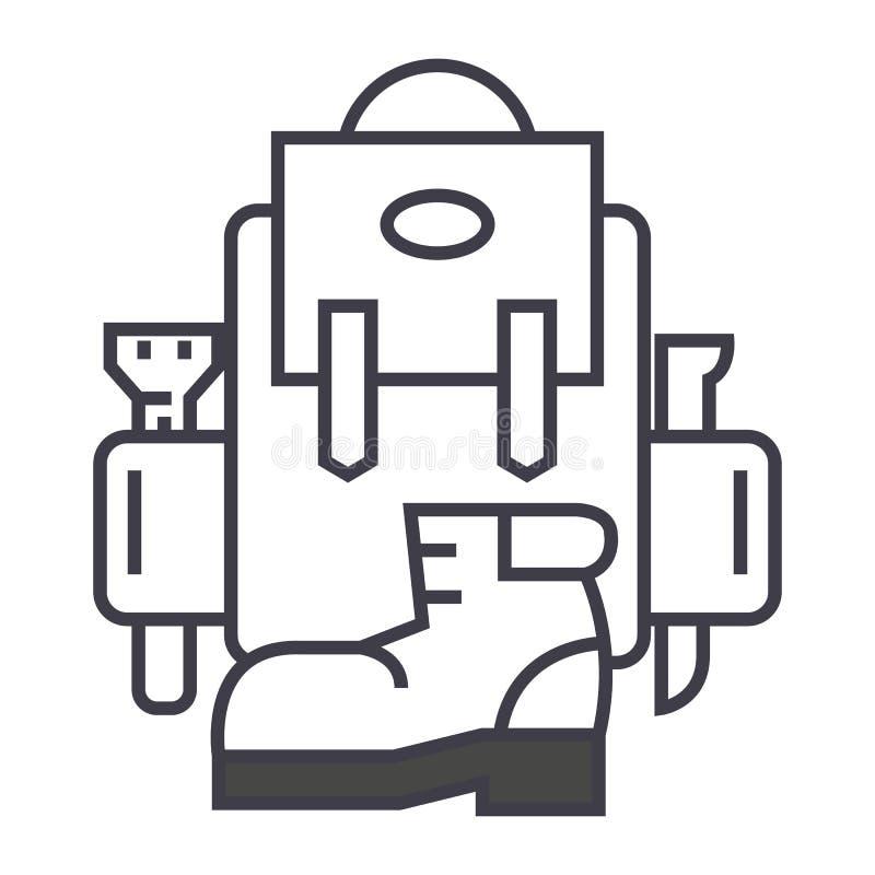 Plecak, aktywna podróż, camping, buta wektoru linii ikona, znak, ilustracja na tle, editable uderzenia royalty ilustracja