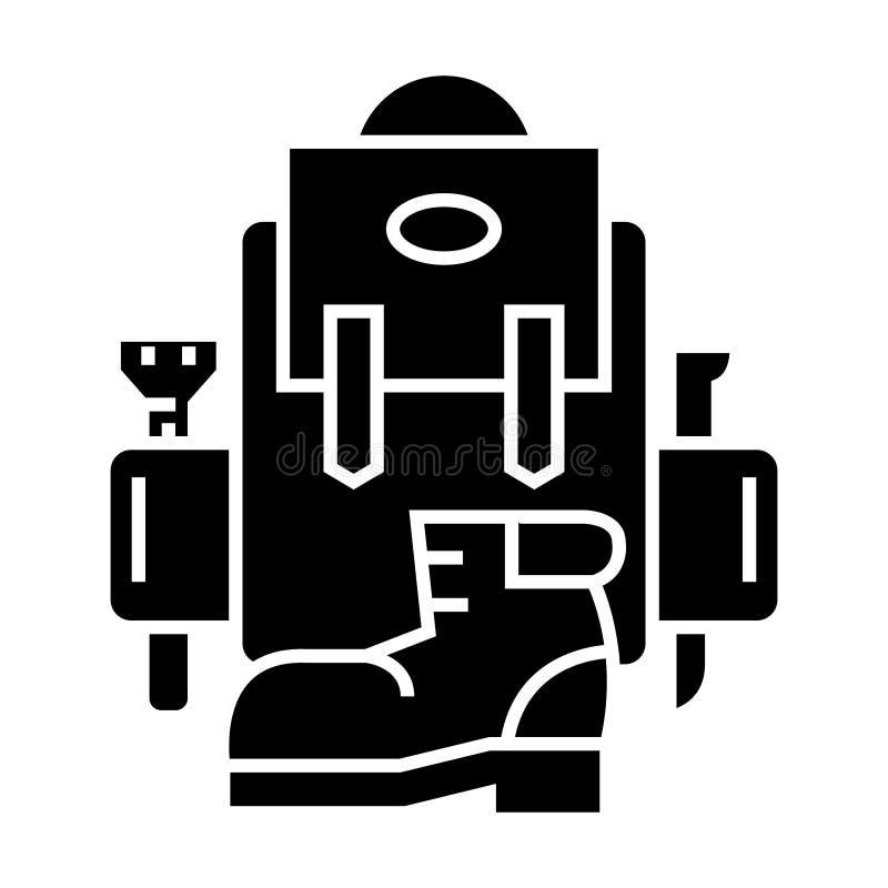 Plecak - aktywna podróż - obozuje - but ikona, wektorowa ilustracja, czerń znak na odosobnionym tle ilustracji
