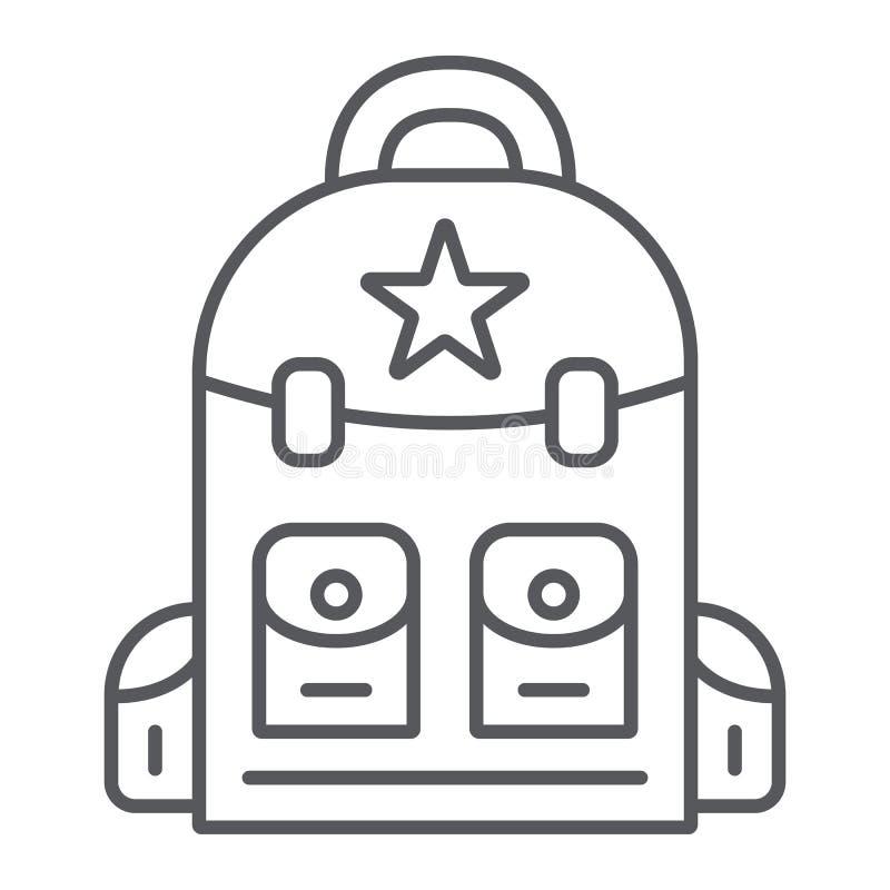 Plecak cienka kreskowa ikona, camping i podróż, torba znak, wektorowe grafika, liniowy wzór na białym tle ilustracja wektor