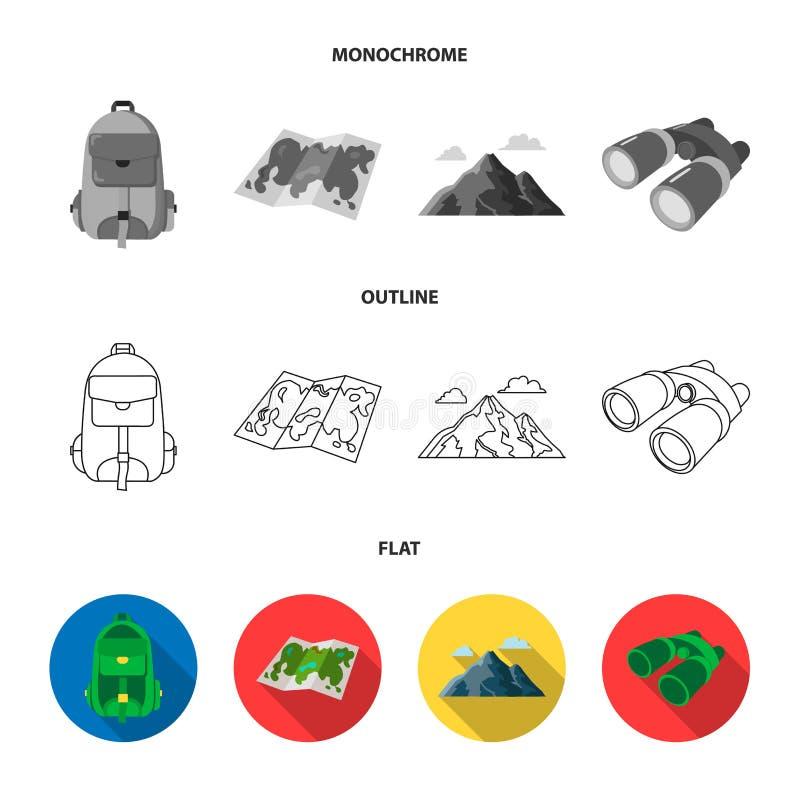 Plecak, góry, mapa teren, lornetki Obozuje ustalone inkasowe ikony w mieszkaniu, kontur, monochromu stylowy wektor royalty ilustracja