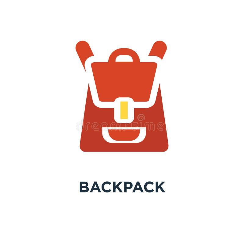 Plecak ikona szkolny pojęcie symbolu projekt, podróż wektoru illus royalty ilustracja