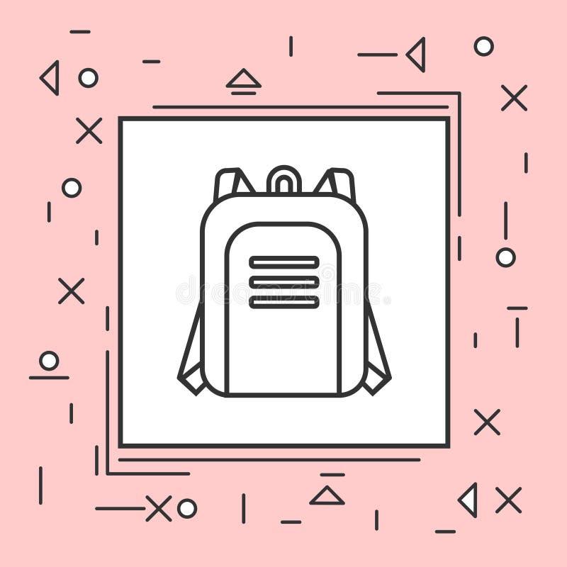 Plecak ikony Cienka linia W menchii ramie ilustracja wektor