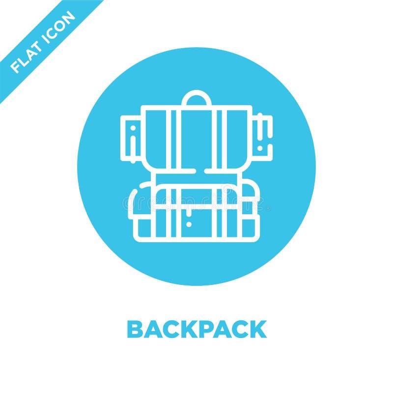 plecak ikony wektor od campingowej kolekcji Cienka kreskowa plecaka konturu ikony wektoru ilustracja Liniowy symbol dla używa na  ilustracja wektor