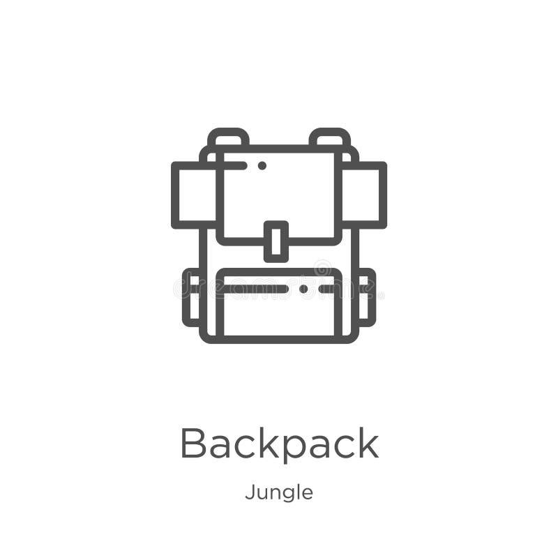 plecak ikony wektor od dżungli kolekcji Cienka kreskowa plecaka konturu ikony wektoru ilustracja Kontur, cienieje kreskową plecak royalty ilustracja