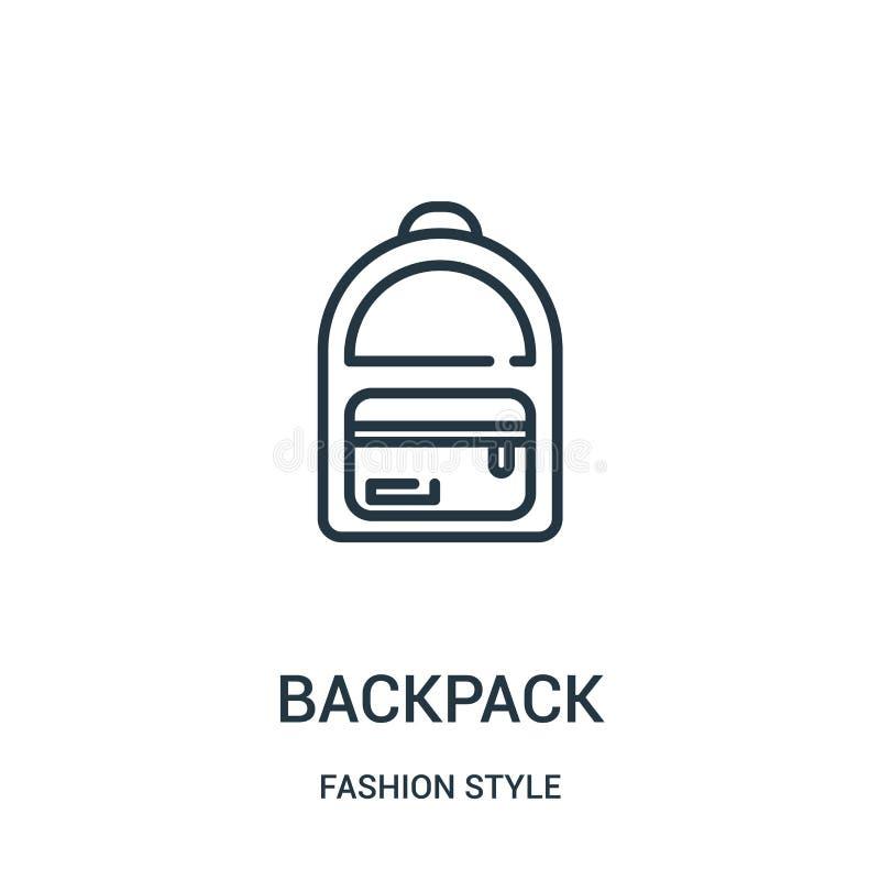 plecak ikony wektor od moda stylu kolekcji Cienka kreskowa plecaka konturu ikony wektoru ilustracja royalty ilustracja