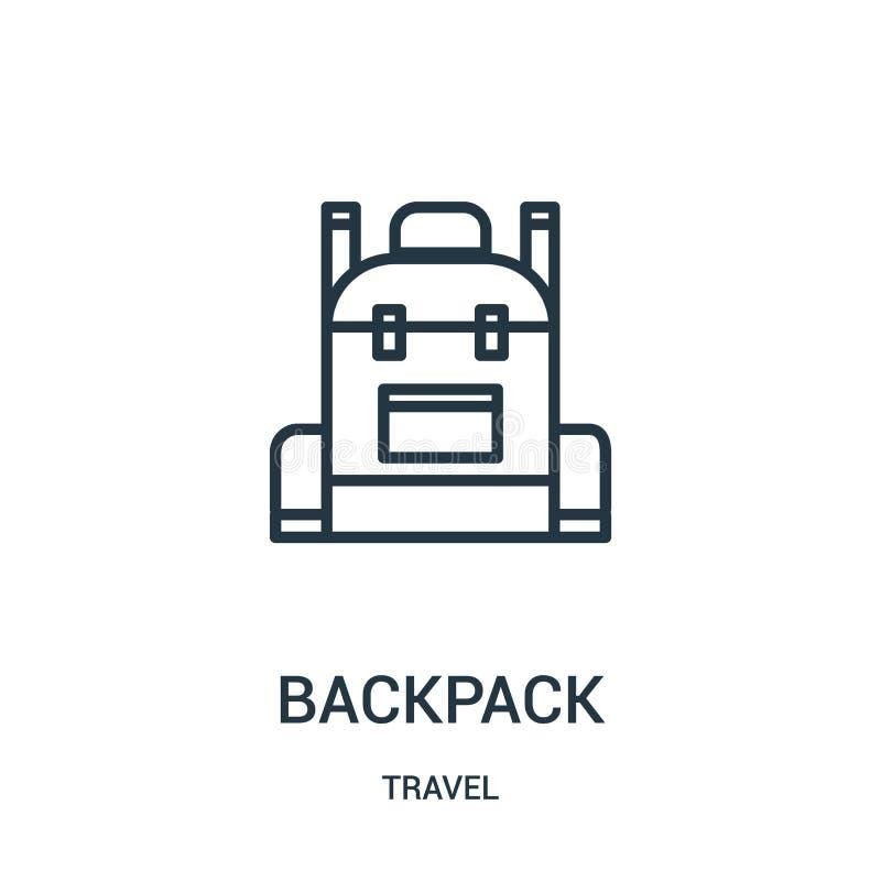 plecak ikony wektor od podróży kolekcji Cienka kreskowa plecaka konturu ikony wektoru ilustracja Liniowy symbol dla używa na siec ilustracja wektor