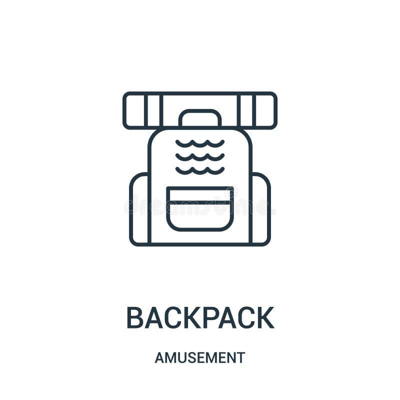 plecak ikony wektor od rozrywkowej kolekcji Cienka kreskowa plecaka konturu ikony wektoru ilustracja ilustracji