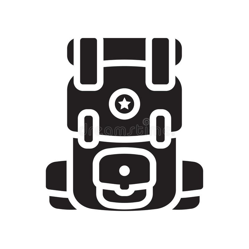 Plecak ikony wektoru znak i symbol odizolowywający na białym backgroun ilustracja wektor