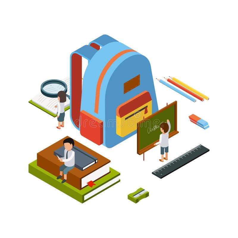 Plecak isometric Szkolnej stacjonarnej rzeczy edukacji szkoły wyższej torby wektoru pojęcia szczęśliwi ludzie ilustracji