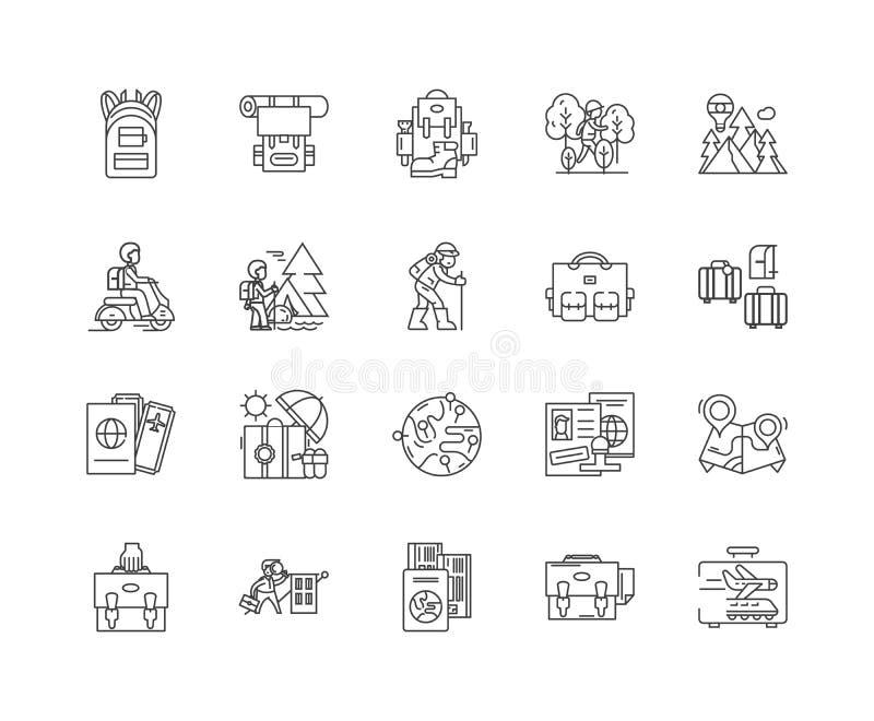 Plecak kreskowe ikony, znaki, wektoru set, kontur ilustracji poj?cie royalty ilustracja