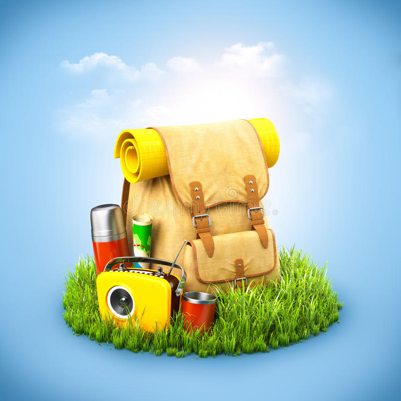 Plecak na trawie ilustracji