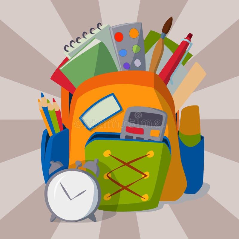 Plecak pełno szkolnych dostaw wyposażenia edukaci przedmiota wektoru studencka bagażowa ilustracja royalty ilustracja