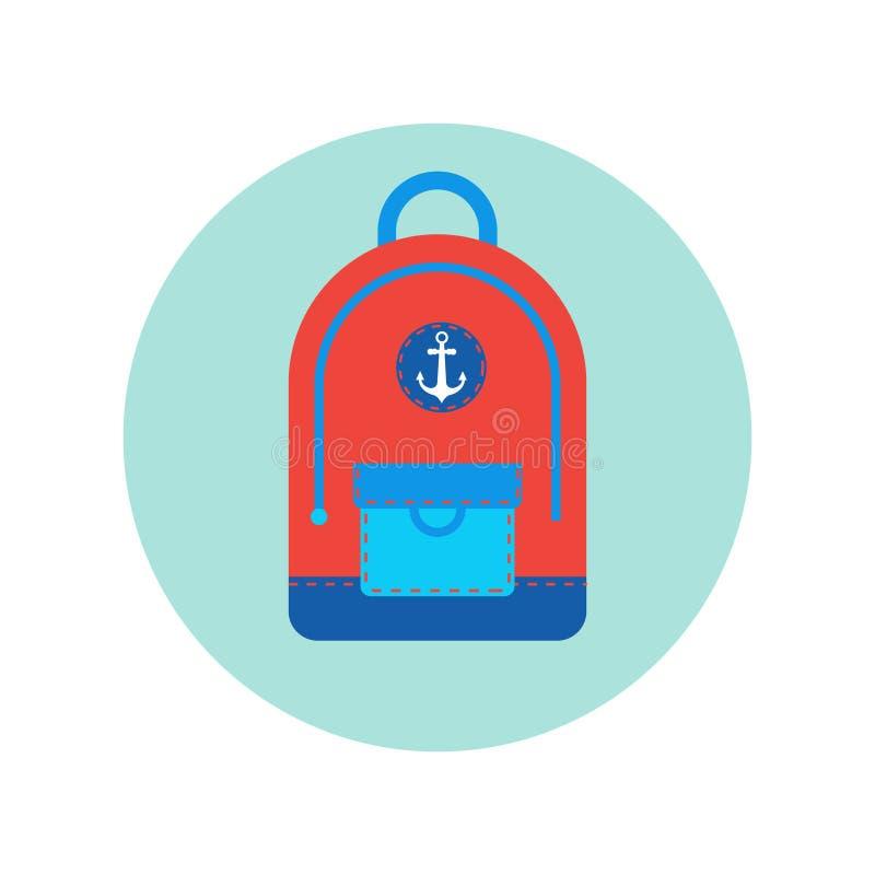 Plecak podróży bagażu ikona Odizolowywający plecak royalty ilustracja